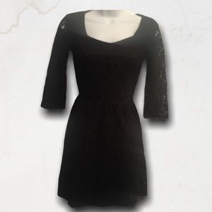 Black Lace 3/4 Sleeves Mini Dress